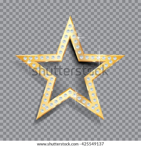 transparent golden star with diamonds, vector template for cosmetics, show business or something else