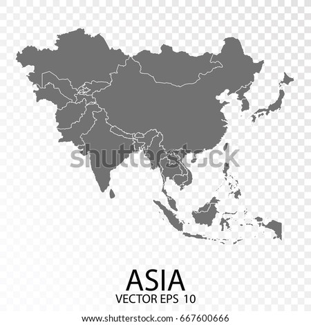 Transparent High Detailed Grey Map Asia Stock Vector (Royalty Free ...