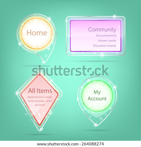 Transparent label, Web element with glass and acrylic design - stock vector