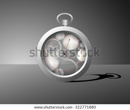 transparent mechanical ring watch with long shadows, surrealism clock, time dreams, vector - stock vector
