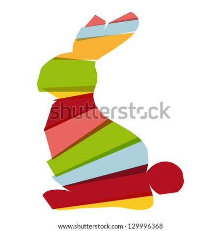 Transparent multicolored Easter bunny isolated. EPS10 file version. This illustration contains transparencies and is layered for easy manipulation and custom coloring - stock vector