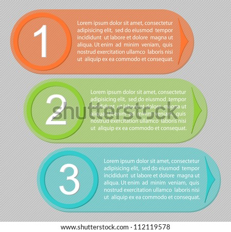 Transparent One, Two, Three progress labels with arrows. Vector - stock vector