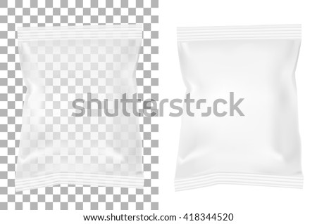 Transparent packaging for snacks, food, chips, sugar and spices. Isolated on a white background. - stock vector