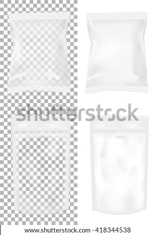 Transparent packaging for snacks, food, chips, sugar and spices. Isolated on a white background - stock vector