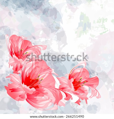 Transparent pink flowers on a blue background - stock vector