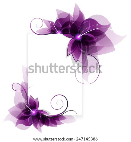 Transparent purple flowers on white background stock vector transparent purple flowers on white background abstract floral card with place for text mightylinksfo