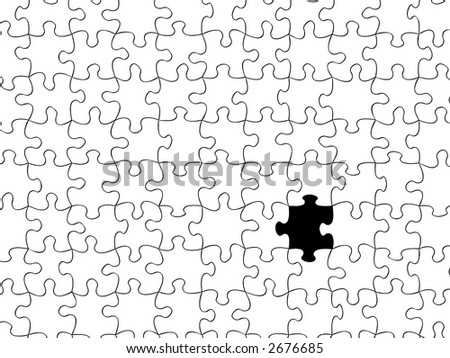 transparent puzzle with one missing piece,usable on any image