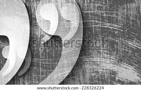 transparent quotation mark and scratched background - stock vector