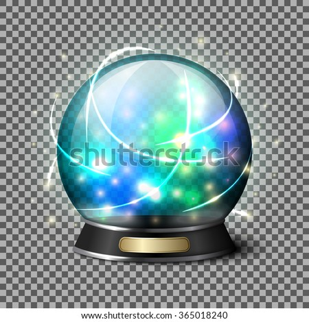 Transparent realistic bright glowing crystal ball for fortune tellers. Isolated on plaid background with reflection. Vector - stock vector