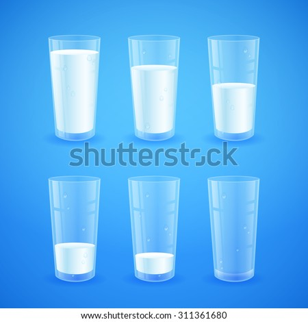 Transparent realistic glasses of milk on blue background, from full to half filled to empty, nutricious and organic, for breakfast - stock vector