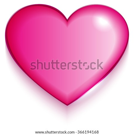 Transparent red valentine heart on white background. Illustration in vector format - stock vector