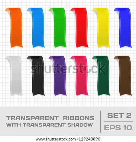 Transparent Ribbons Set 2. Tags, Bookmarks. Vector - stock vector