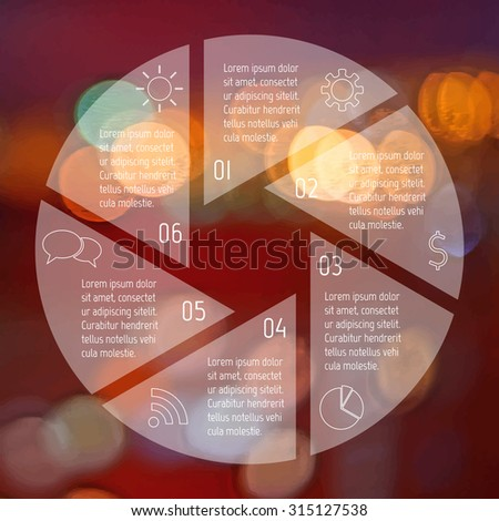 Transparent round infographic diagram on blurred bokeh background. Circular connected chart with 6 options. Paper progress steps for tutorial. Business concept sequence banner. EPS10 workflow layout. - stock vector
