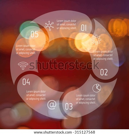 Transparent round infographic diagram on blurred bokeh background. Circular connected chart with 5 options. Paper progress steps for tutorial. Business concept sequence banner. EPS10 workflow layout. - stock vector