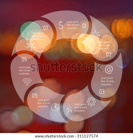 Transparent round infographic diagram on blurred bokeh background. Circular connected chart with 7 options. Paper progress steps for tutorial. Business concept sequence banner. EPS10 workflow layout. - stock vector