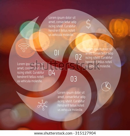 Transparent round infographic diagram on blurred bokeh background. Circular connected chart with 4 options. Paper progress steps for tutorial. Business concept sequence banner. EPS10 workflow layout. - stock vector