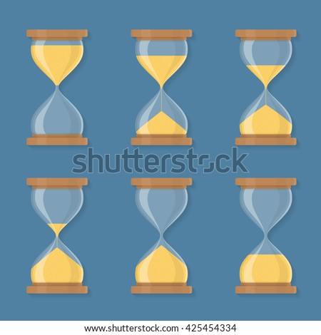 Transparent sandglass icons set, time hourglass, sandclock, flat design, vector eps10 illustration - stock vector