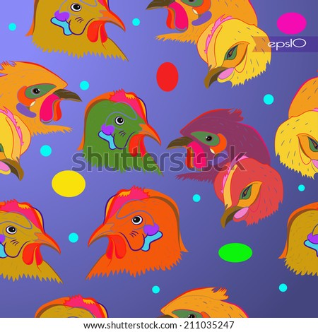 Transparent seamless pattern of colored chicken heads on a gradient  background and colored ellipses,transparent  flag.Handmade.