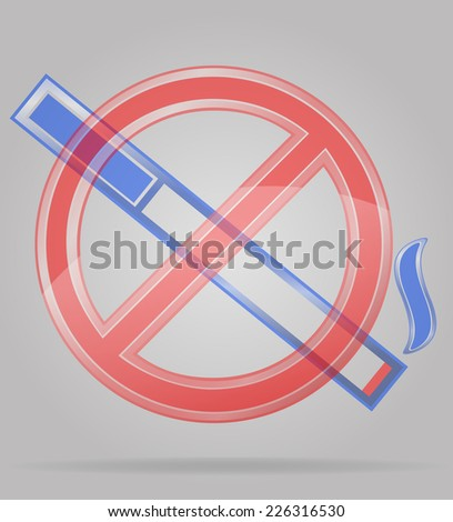 transparent sign no smoking vector illustration isolated on gray background - stock vector