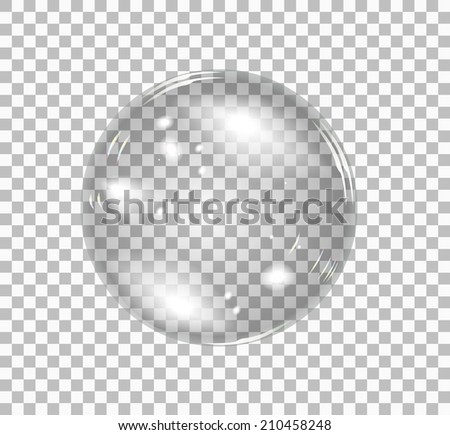 Transparent soap bubble. Vector realistic illustration on checkered background - stock vector