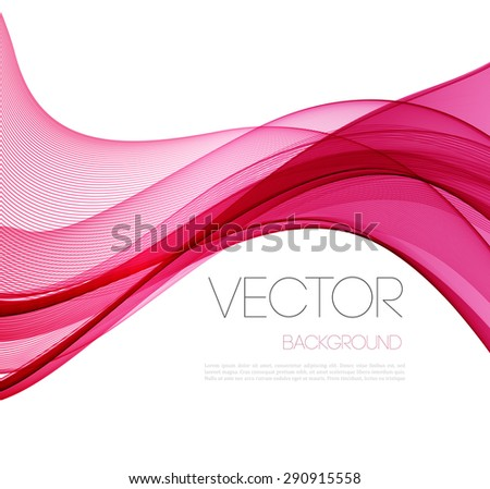 Transparent soft lines on white. Magenta color.  Vector smooth pink abstract waves. For cover book, brochure, flyer, poster, magazine, website, app mobile, annual report, cosmetics, perfumes - stock vector