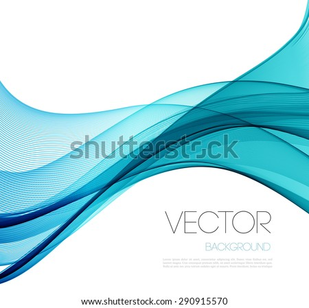 Transparent soft lines on white. Turquoise color.  Vector smooth blue abstract waves. For cover book, brochure, flyer, poster, magazine, website, app mobile, annual report, cosmetics, perfumes - stock vector