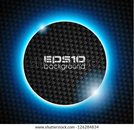 Transparent Sphere of lights over a Carbon look backgroud - stock vector
