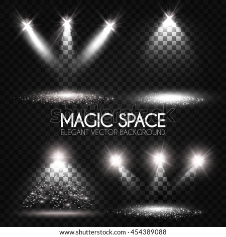 Transparent Spotlight Collection. Scene Illumination. Light Sourses. Realistic Concert, Theater and Showcase Lightning. Vector illustration  - stock vector