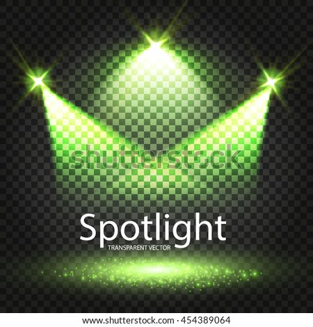 Transparent Spotlight. Scene Illumination. Light Sourses. Realistic Concert, Theater and Showcase Lightning. Vector illustration  - stock vector