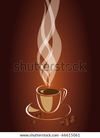 Transparent steam over a cup of coffee. Vector illustration - stock vector