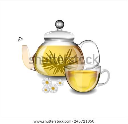Transparent teapot and a cup of green tea. - stock vector