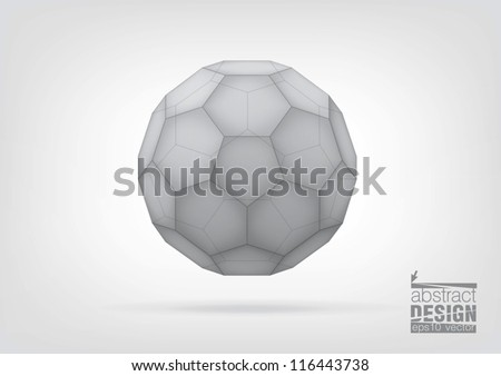 Transparent  truncated icosahedron for your graphic design. You can change colors - stock vector