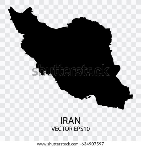 Transparent - Vector black map of Iran, Vector illustration eps 10.