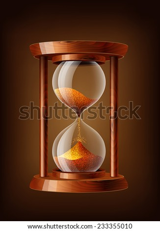 Transparent vector sand clock with wooden texture - stock vector