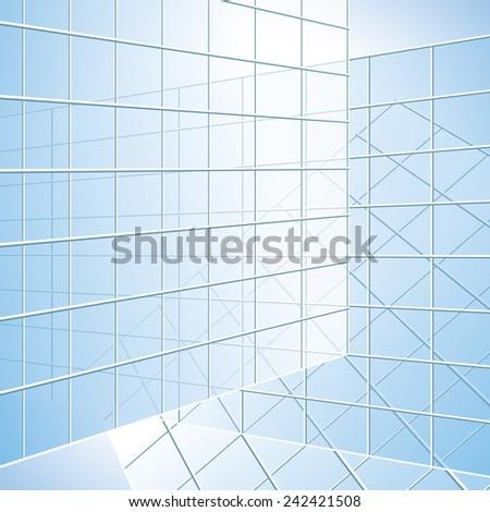 transparent vector wall - blue windows - eps 10 - stock vector