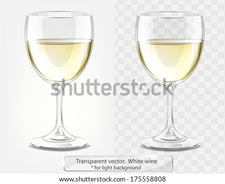Transparent vector wineglass with white wine. For light background - stock vector