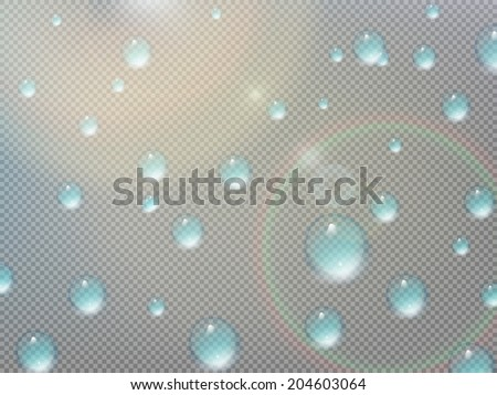 Transparent water drop on gray grid. plus EPS10 vector file - stock vector