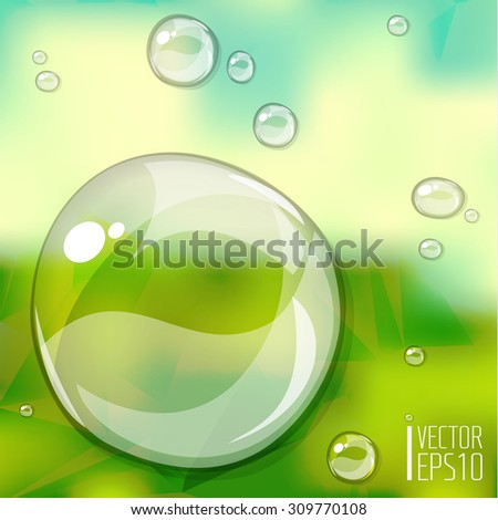 Transparent water drops on trendy blurred background - stock vector