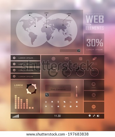 Transparent web site, business Infographics, plat elements on blur landscape can be used for workflow layout, banner, step up options,  number options,  web template - stock vector