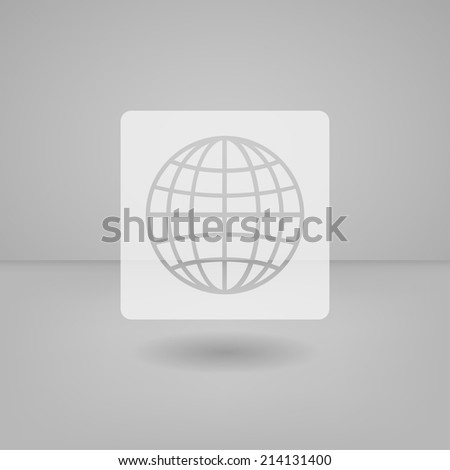 Transparent white flat icon useful for touch screen. Globe - stock vector