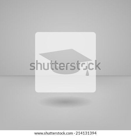 Transparent white flat icon useful for touch screen. Graduation cap - stock vector