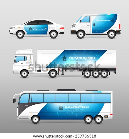 Transport advertisement design blue template decorative icons set isolated vector illustration - stock vector