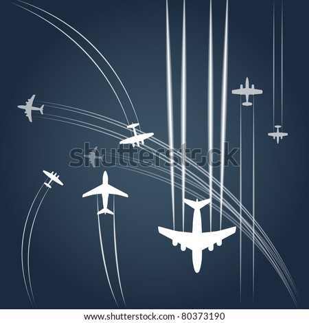 Transport and civil airplanes` paths - stock vector