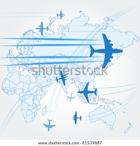 Transport and civil airplanes paths over the map of the world - stock vector