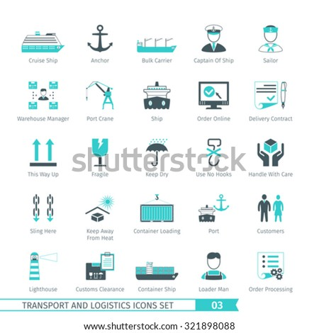 Transport And Logistics Icons Set 03 - stock vector