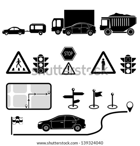 transport  and navigation icons set.