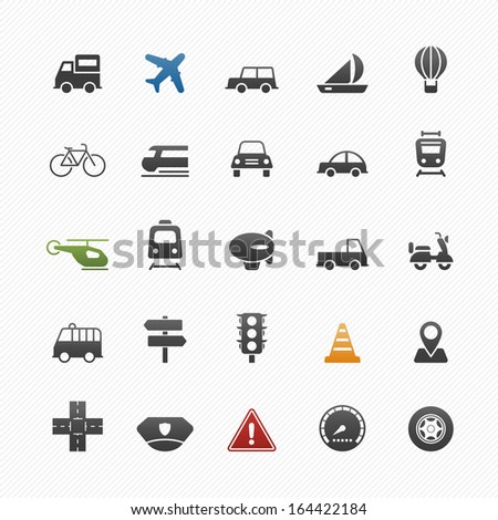transport and traffic vector symbol icon set on white background - stock vector