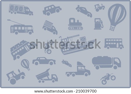 Transport background, monochrome cars collection, silhouette icons set - stock vector