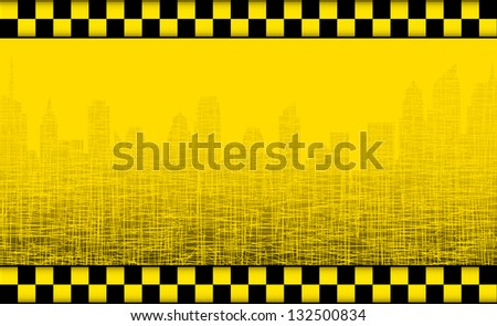 transport background with taxi sign and graphic city silhouette
