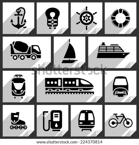 Transport black icons on white paper stickers-01 - stock vector